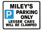 MILEY'S Personalised Parking Sign Gift | Unique Car Present for Her |  Size Large - Metal faced